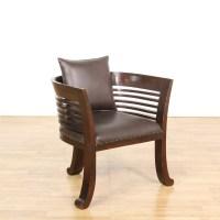 Large Barrel Back Dark Wood Chair   Loveseat Vintage ...