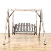 Rustic Raw Wood Outdoor Swing