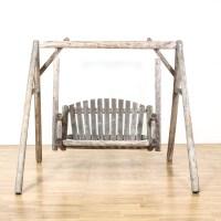 Rustic Raw Wood Outdoor Swing | Loveseat Vintage Furniture ...