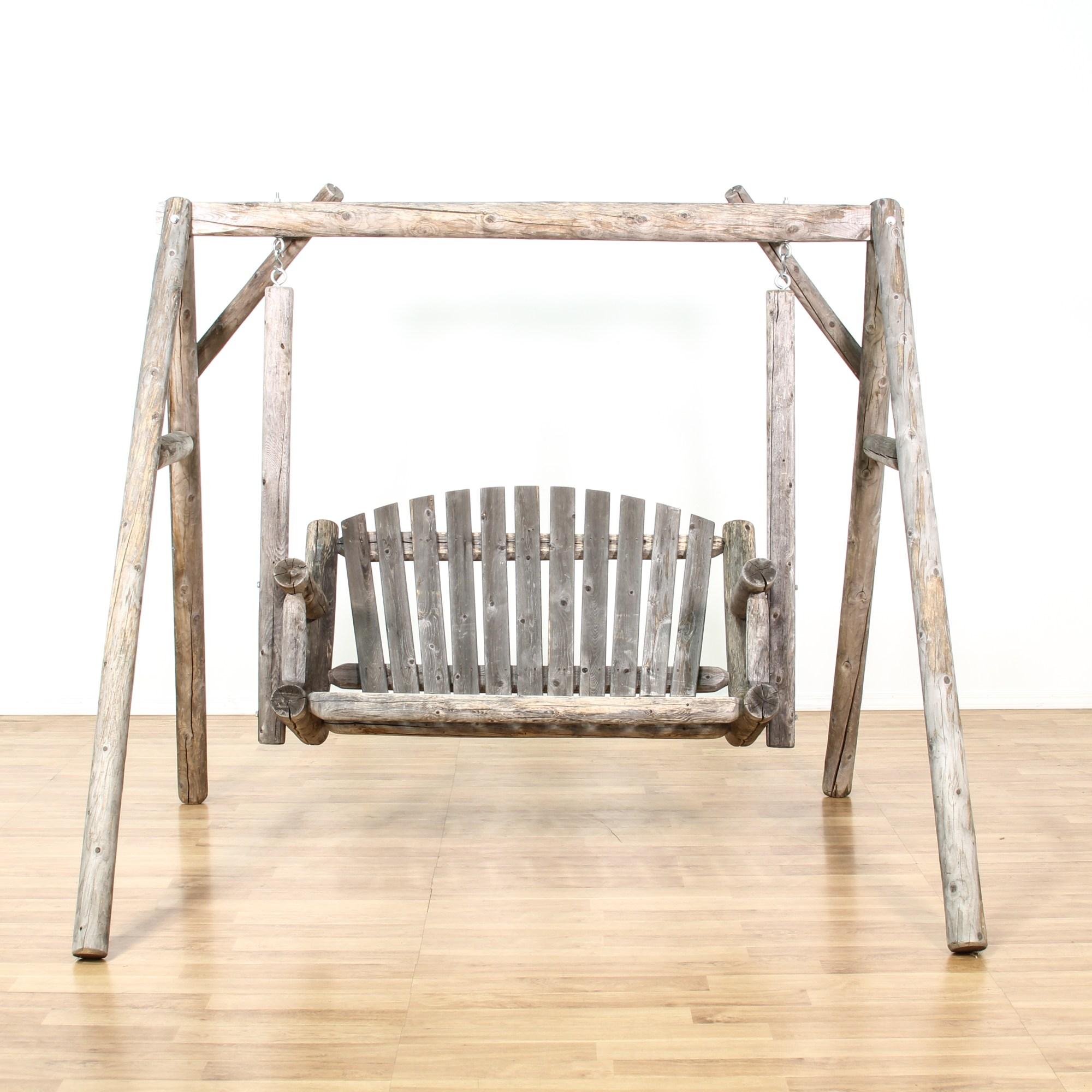 Rustic Raw Wood Outdoor Swing