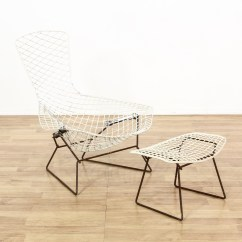 Bertoia Style Chair White High Restaurant Harry Bird Wire And Stool