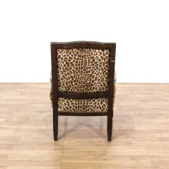 Animal Print Accent Chair Hanging Swing Chairs Outdoor Leopard Carved Wood Loveseat Vintage