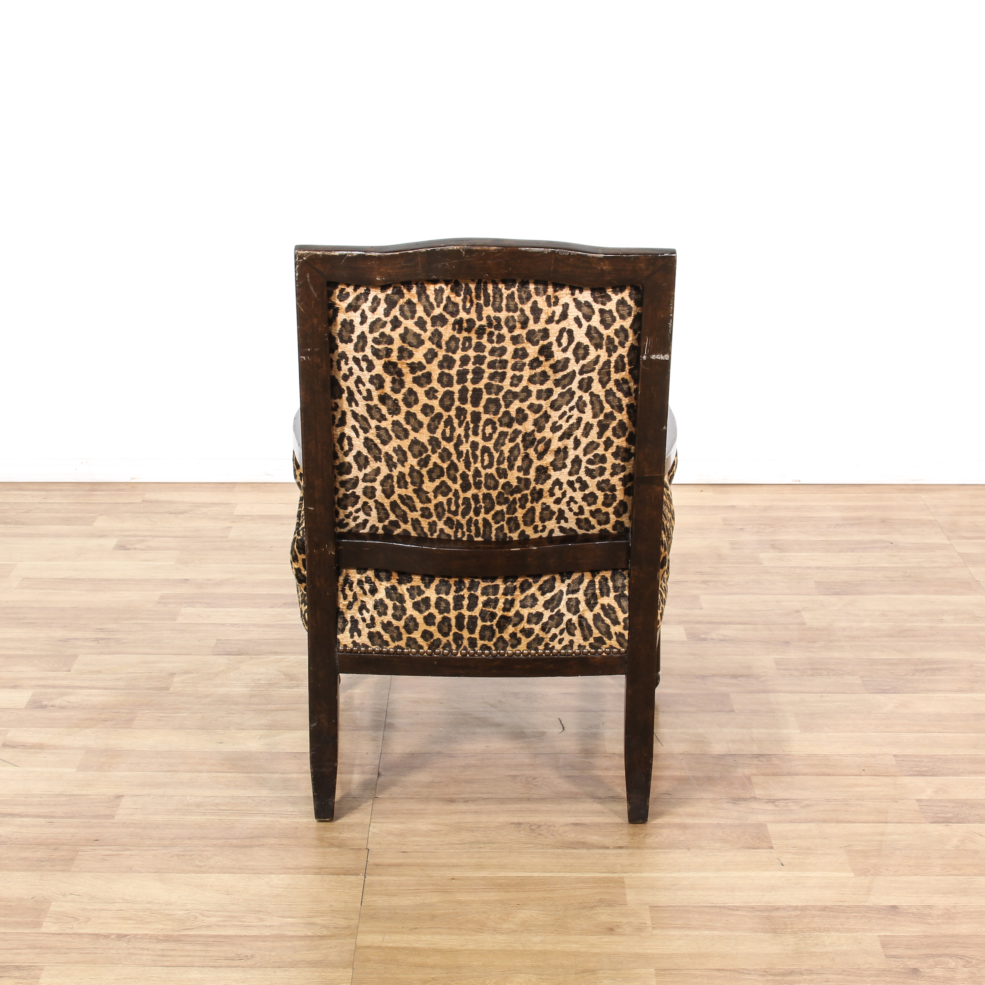 leopard print accent chair atlas tables and chairs carved wood loveseat vintage