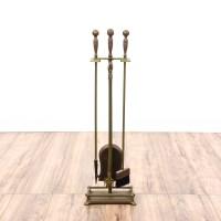 Antiqued Brass Fireplace Poker Set | Loveseat Vintage ...