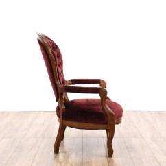 Victorian Accent Chair Revolving Wheel Base Red Velvet Spoon Back Loveseat