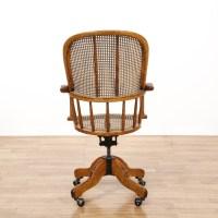 Oak & Wicker Swivel Desk Chair | Loveseat Vintage ...