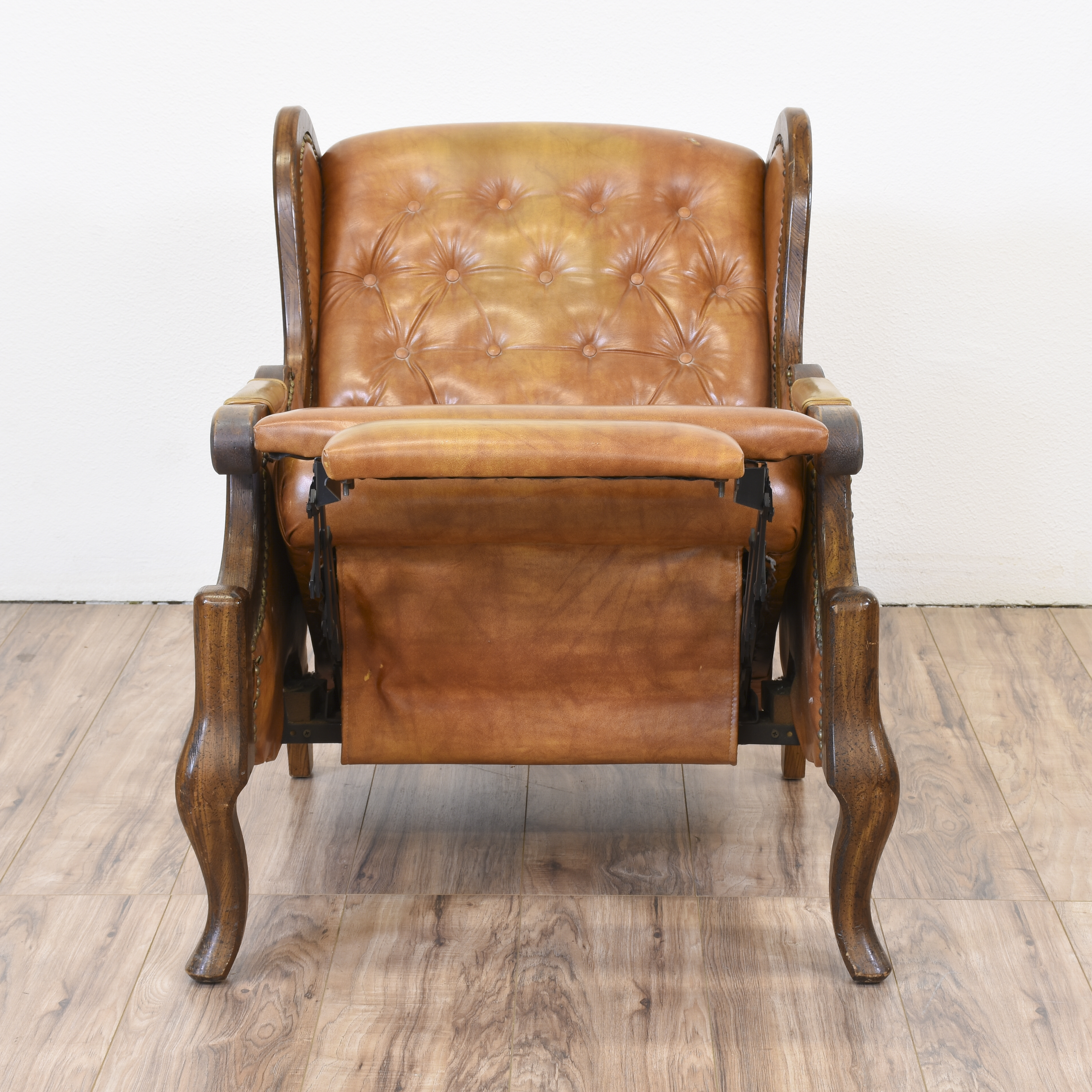 wing chair recliner leather dark teal covers tufted back loveseat vintage
