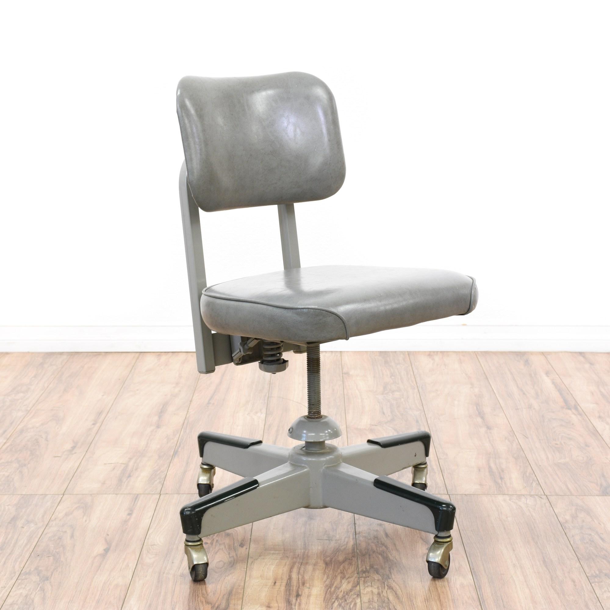 Retro Industrial Gray Vinyl  Metal Office Chair