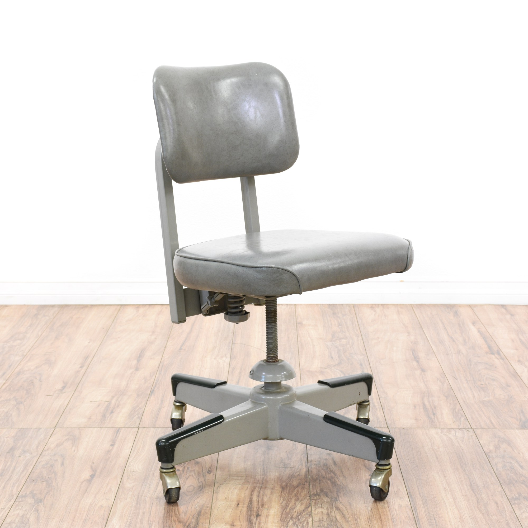 Retro Desk Chair Retro Industrial Gray Vinyl And Metal Office Chair