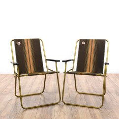 Folding Loveseat Lawn Chair Rv Captain Chairs For Sale Pair Of 1950s Aluminum Beach