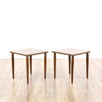Pair of Mid Century Modern Square End Tables | Loveseat ...