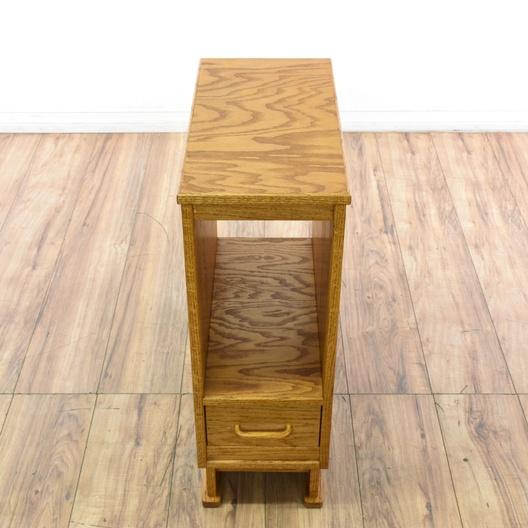 Slim Oak Side Table W Drawer Loveseat Vintage Furniture