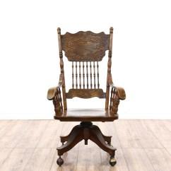 Swivel Chair Regal Blue Wingback Victorian Oak Press Back Rolling Desk | Loveseat Vintage Furniture San Diego & Los Angeles