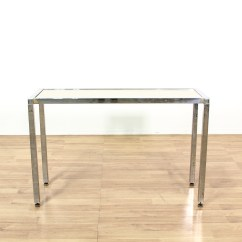 Vogue Chrome Sofa Table What Colour Cushions Go With Dark Brown Leather And Travertine Modern Console Loveseat