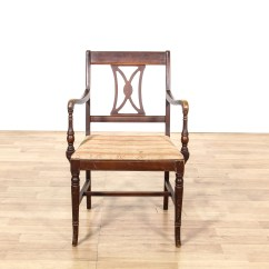 Wooden Slat Chairs Office Chair Mesh Seat Single Carved Back Loveseat Vintage