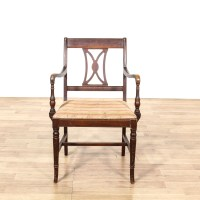 Single Carved Slat Back Wooden Chair | Loveseat Vintage ...