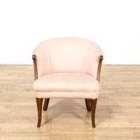 Pink Upholstered Wood Frame Barrel Back Chair | Loveseat ...