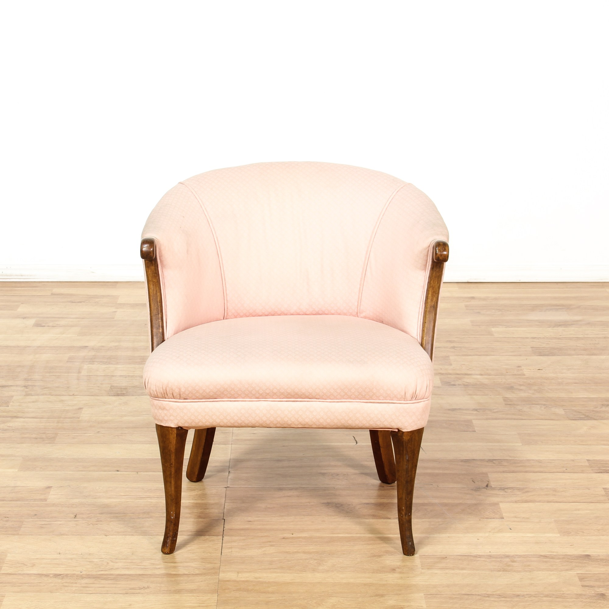Pink Upholstered Chair Pink Upholstered Wood Frame Barrel Back Chair Loveseat