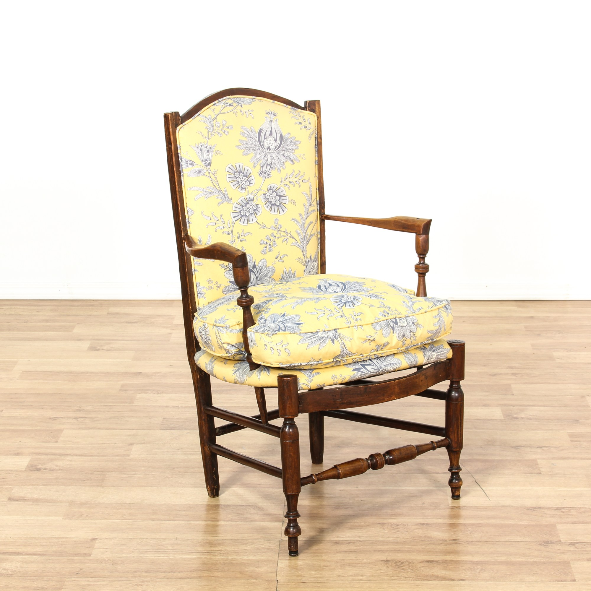 Yellow Side Chair Carved Walnut Yellow Floral Cushion Accent Chair