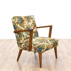 Floral Print Accent Chairs Electric Chair Images Mid Century Modern Walnut Frame Armchair Loveseat