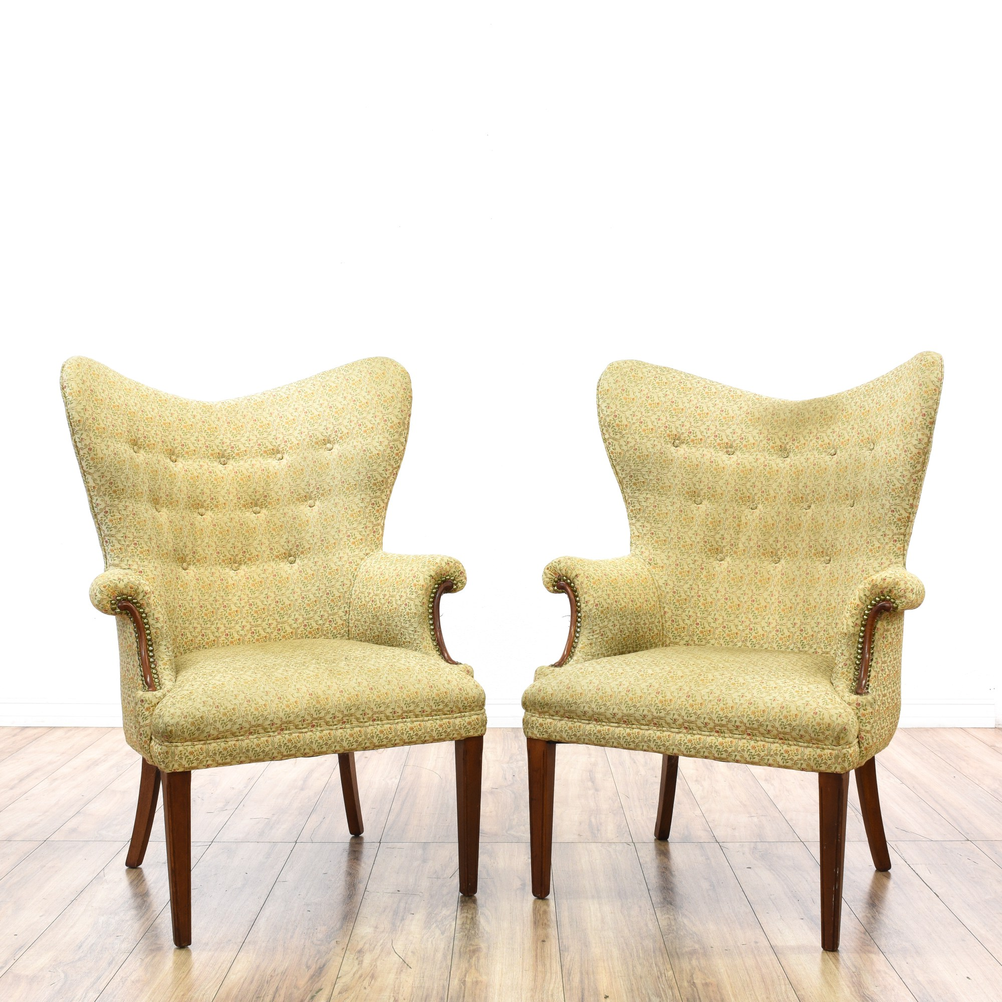Floral Wingback Chair Pair Of Mid Century Floral Wingback Armchairs Loveseat