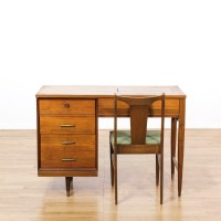 Mid Century Sewing Cabinet & Chair | Loveseat Vintage ...