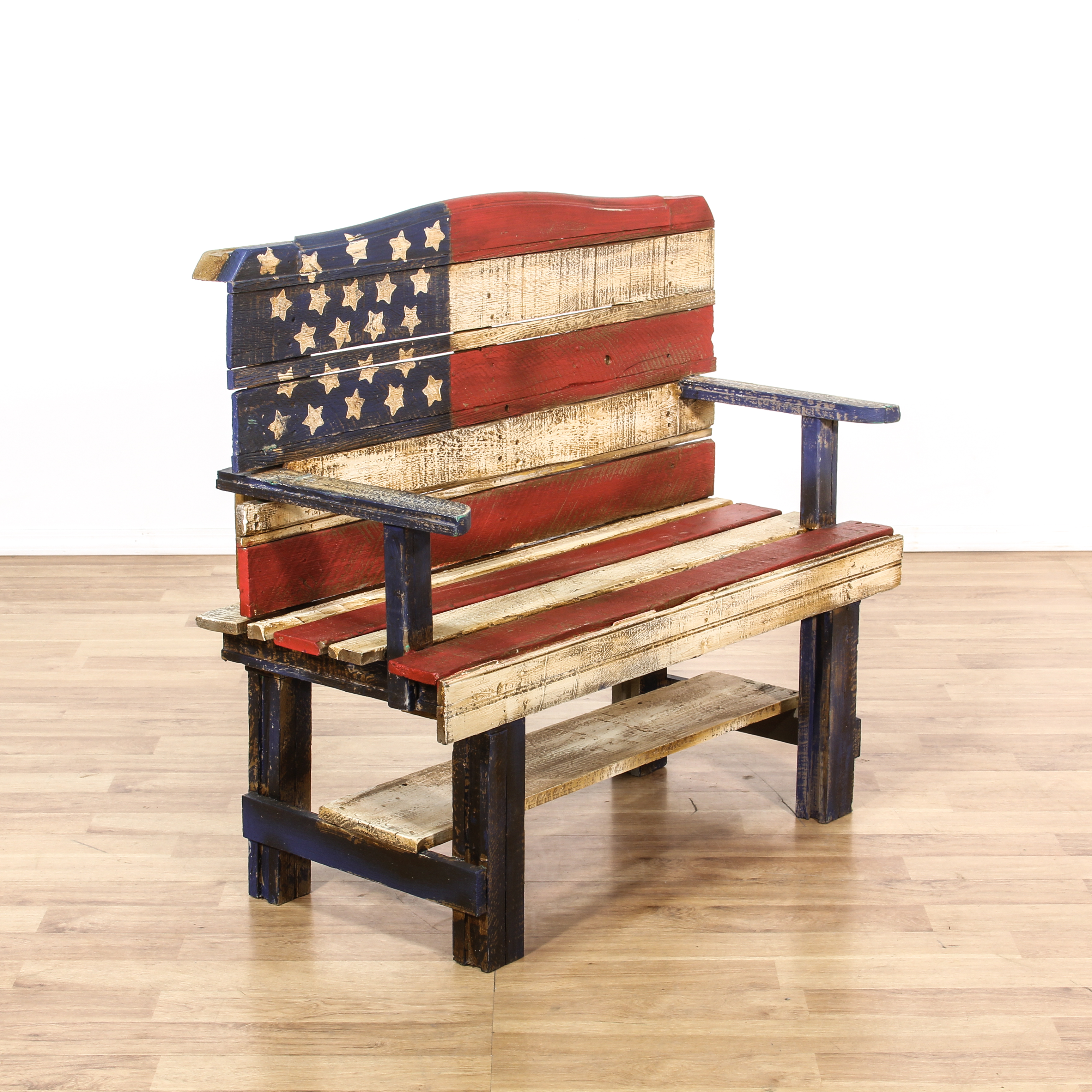 american flag chair seat covers bed bath and beyond rustic wood painted bench loveseat vintage