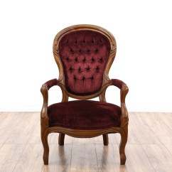 Victorian Accent Chair Wenger Music Chairs Red Velvet Spoon Back Loveseat