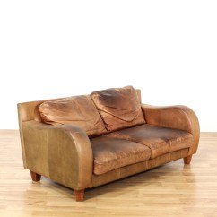 Sofa Arm Rest Upholstery Sofas Manchester Brown Leather W Curved Rests Loveseat Vintage