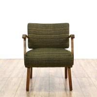 Mid Century Modern Wood Frame Woven Slipper Chair ...