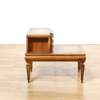 Mid Century 2 Tier 4 Drawer Leather Top End Table ...