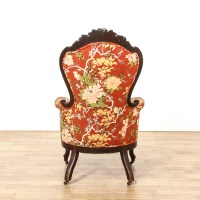 Red Floral Upholstered Carved Victorian Side Chair ...