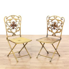 Folding Chair Yellow Desk Gold Pair Of Shabby Chic Metal Chairs Loveseat