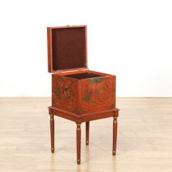 Chair Box Stand Real Leather Dining Room Chairs Red Chinese Lacquered On Loveseat Vintage