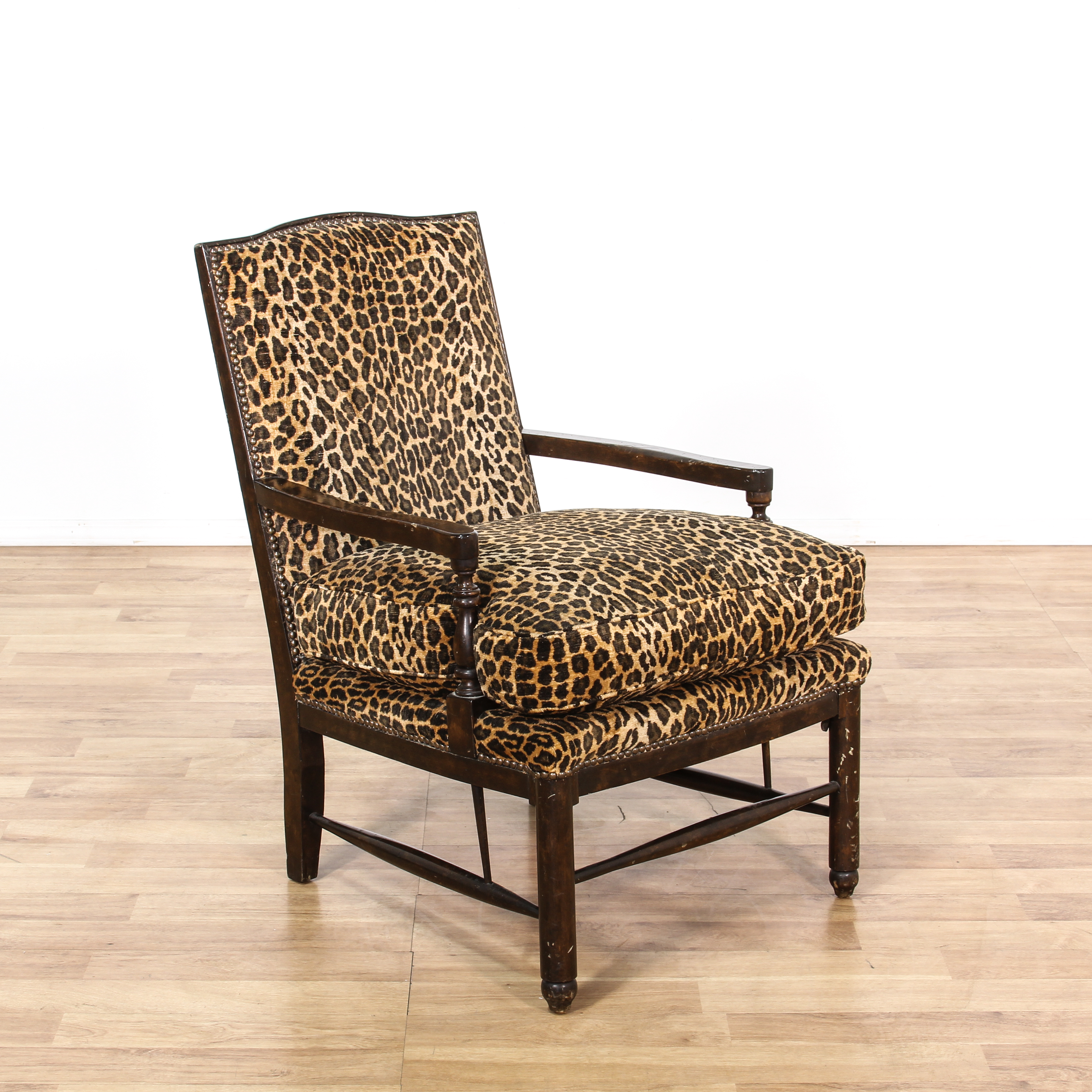 animal print accent chair design within reach womb leopard carved wood loveseat vintage