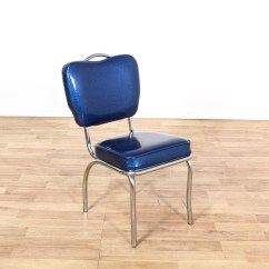Retro Chrome Chairs Chair Yoga Exercises For Seniors Dinette Set W 4 Blue Vinyl Loveseat