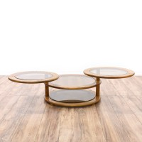 Glass & Oak Round Swivel Coffee Table | Loveseat Vintage ...