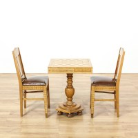 Inlaid Wood Marquetry Chess Table & Chairs