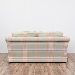 Plaid Sofa Cushions Short Single Bed Quotethan Allen Quot Loveseat Vintage