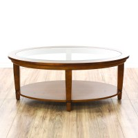 Contemporary Tiered Oval Glass Top Coffee Table | Loveseat ...