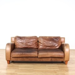 Leather Round Sofas Manufacturers Reupholster Sofa London Brown W Curved Arms Loveseat Vintage