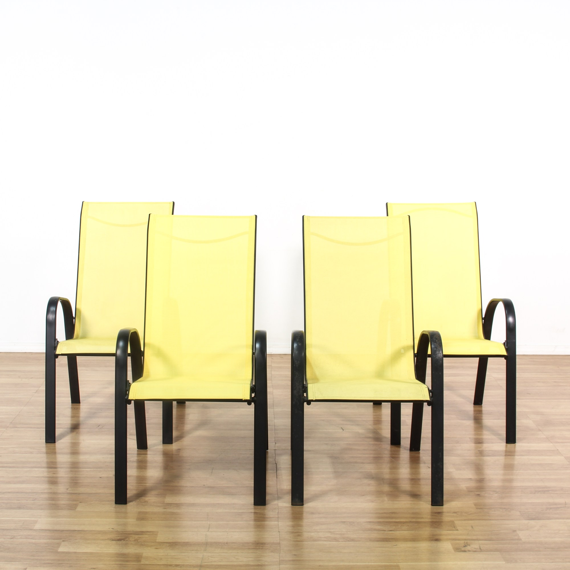 Set Of 4 Black & Yellow Metal Outdoor Patio Chairs