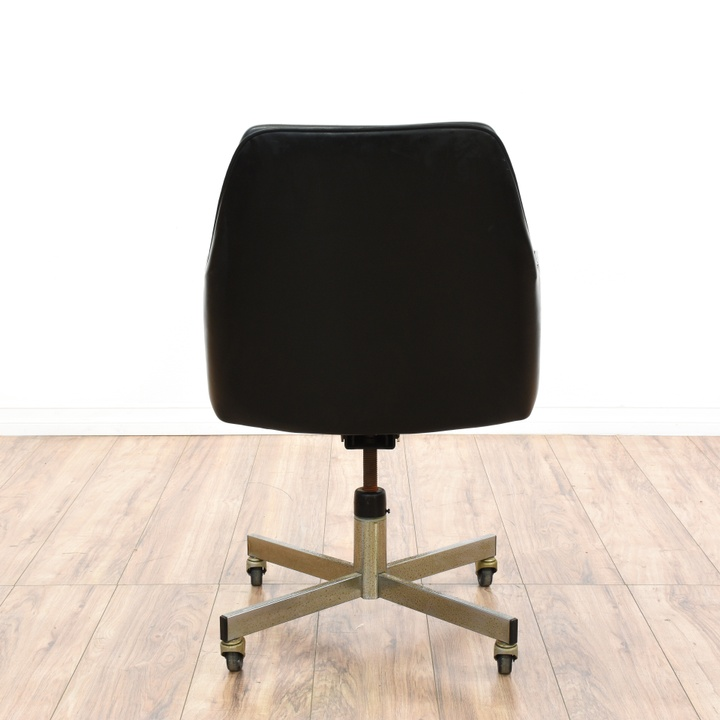 Mid Century Modern Black Vinyl Office Chair