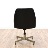 Mid Century Modern Black Vinyl Office Chair