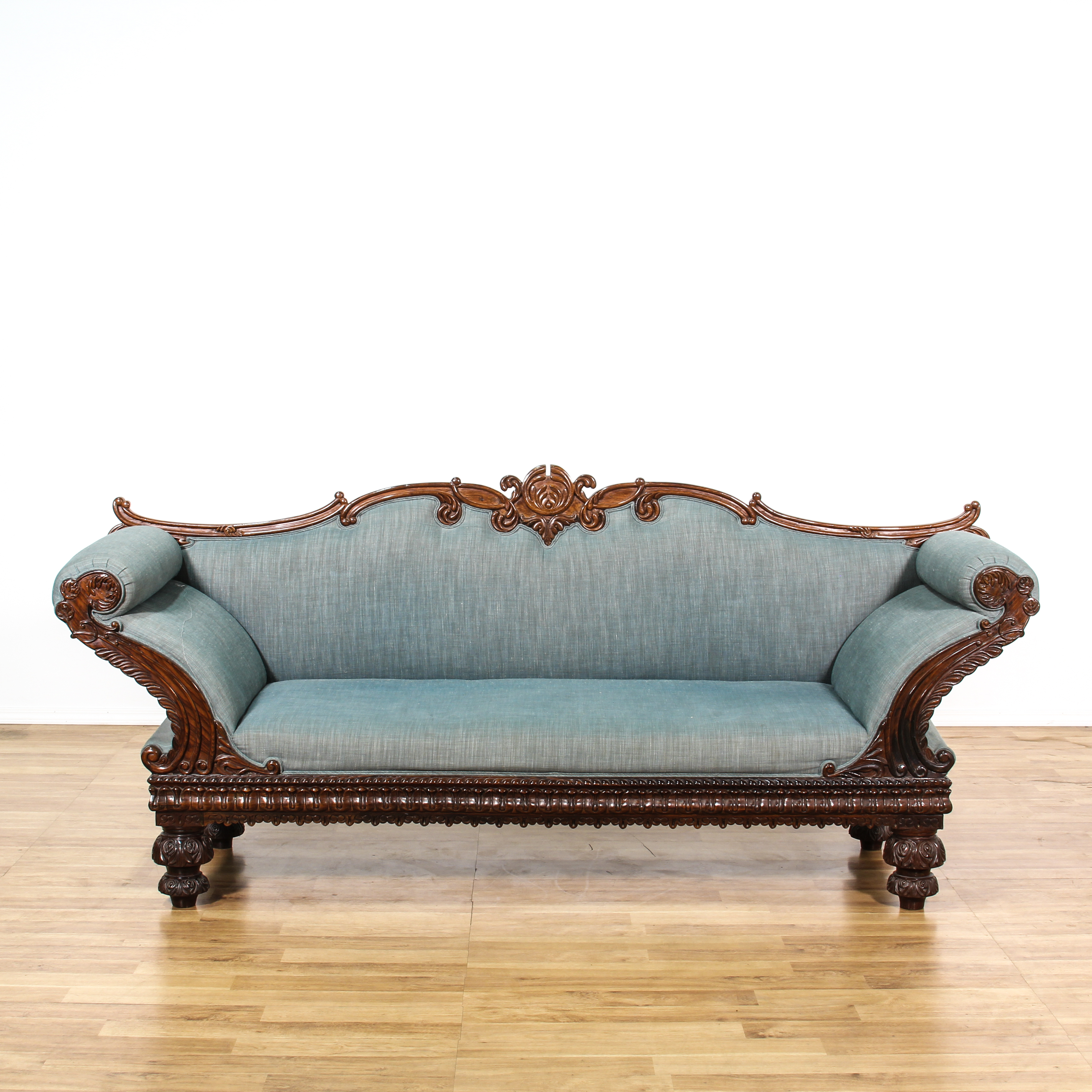 sofa rose wood tapestry fabric victorian carved rosewood blue upholstered loveseat