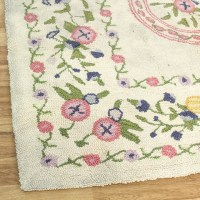 Shabby Chic Cream Pastel Floral Motif Rug | Loveseat ...