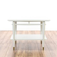 Mid Century Modern White Tiered End Table | Loveseat ...