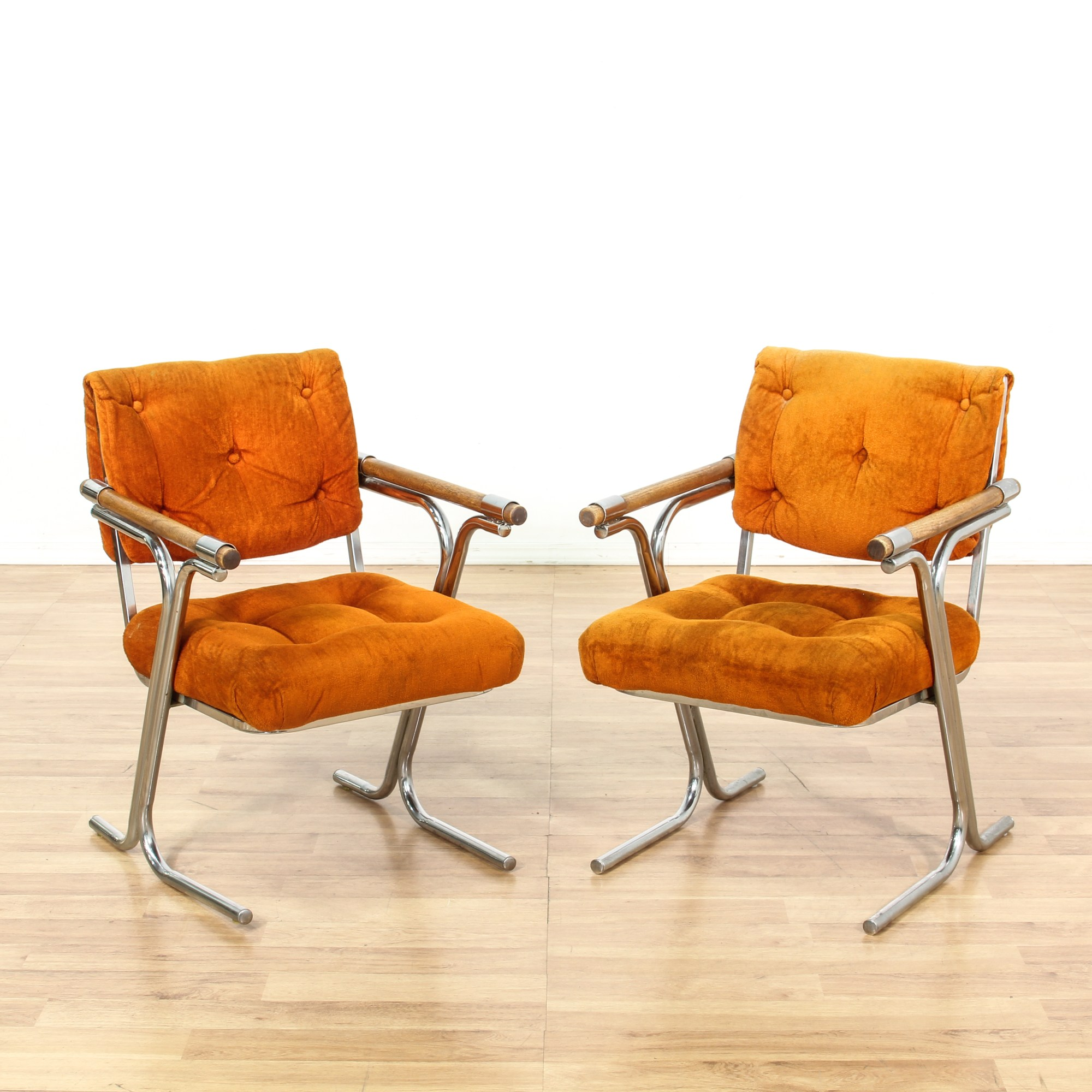 Retro Accent Chairs Pair Of Retro Burnt Orange And Chrome Accent Chairs