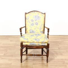 Black And White Accent Chairs With Arms Chair Gym Leg Exercises Carved Walnut Yellow Floral Cushion | Loveseat Vintage Furniture San Diego & Los ...