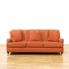 Henredon Sofa Fabrics Narrow Table Australia Quothenredon Quot Orange Coral On Casters Loveseat Vintage